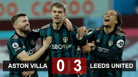 Kết quả Aston Villa 0-3 Leeds: Villa kết thúc mạch 4 trận toàn thắng