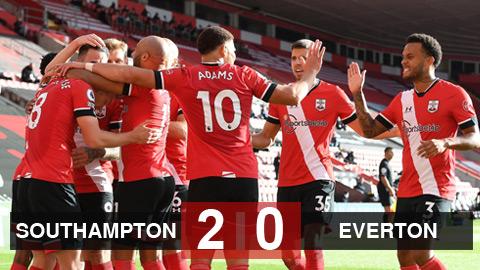 Kết quả Southampton 2-0 Everton: James Rodriguez 'mất hút', Everton đứt mạch bất bại ở Ngoại hạng Anh