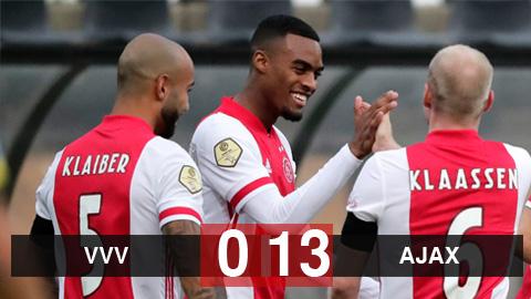 Kết quả VVV 0-13 Ajax: Ajax lập kỷ lục mới tại giải VĐQG Hà Lan