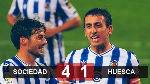 Kết quả Sociedad 4-1 Huesca: Oyarzabal và Silva giúp Sociedad lên đỉnh La Liga