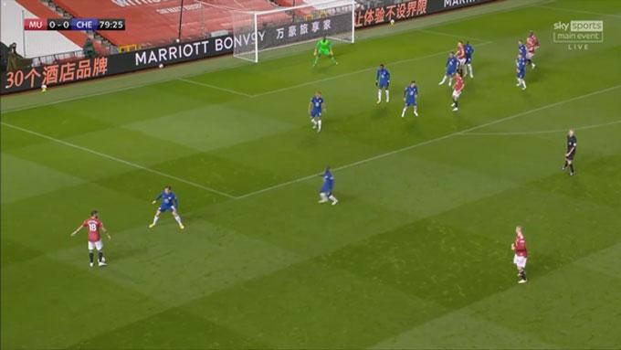 Fernandes ra dấu hiệu cho Shaw chạy xuống cánh trái đón đường chuyền của anh, nhưng hậu vệ này vẫn chỉ đứng yên một chỗ