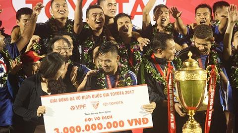 Quảng Nam từng vô địch V.League 2017 nhờ hơn chỉ số đối đầu so với đội á quân Thanh Hoá