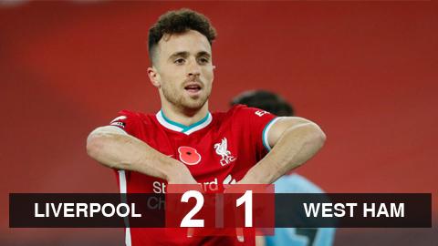 Kết quả Liverpool 2-1 West Ham: Jota lại lập công, The Kop chiếm ngôi đầu