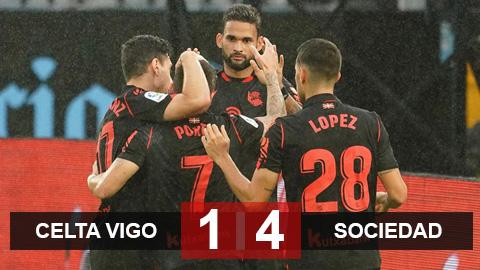 Kết quả Celta Vigo 1-4 Real Sociedad: Thắng Celta tưng bừng, Sociedad giành lại ngôi đầu bảng