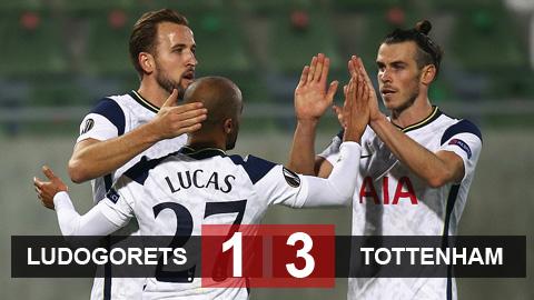 Kết quả Ludogorets 1-3 Tottenham: Song sát Kane - Moura tỏa sáng