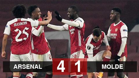 Kết quả Arsenal 4-1 Molde: Đội khách thi nhau phản lưới, Arsenal đặt 1 chân vào vòng knock-out