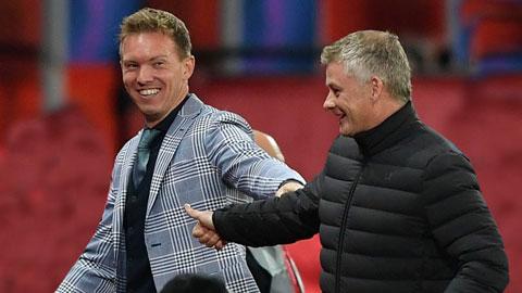 Nagelsmann (trái) đang sẵn sàng thế chỗ Solskjaer ở Old Trafford
