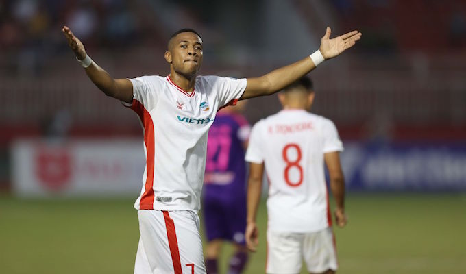 Niềm vui của Bruno khi ghi bàn thắng - Ảnh: Quốc An