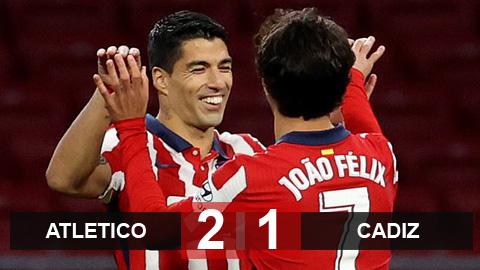 Kết quả Atletico Madrid 4-0 Cadiz: Joao Felix và Suarez giúp Atletico lên đỉnh