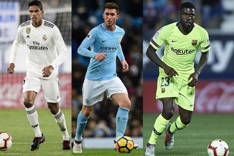 Varane, Laporte, Umtiti (từ trái qua), những trung vệ người Pháp đều là trụ cột ở Real, Man City và Barca