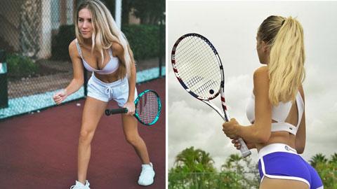 Pha 'cua gắt' của người đẹp 19 tuổi 'khoái' mặc bikini chơi tennis