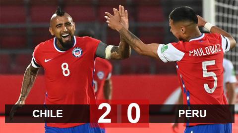 Kết quả Chile 2-0 Peru: Không Sanchez, Vidal tỏa sáng giúp Chile thắng trận