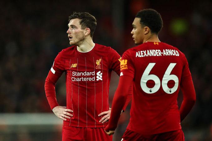 Mất Robertson và Alexander-Arnold ảnh hưởng rất nhiều tới Liverpool