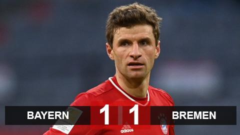 Kết quả Bayern 1-1 Bremen: Bayern lần đầu không thắng trên sân nhà sau 9 tháng