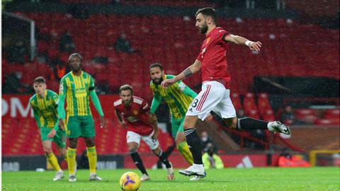 Cú sút nhảy chân sáo ghi bàn cho M.U từ chấm 11m của Bruno Fernandes vào lưới đối thủ West Brom