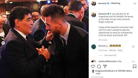 Messi tiếc thương Maradona