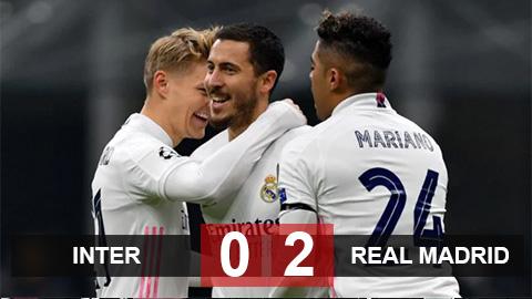 Kết quả Inter 0-2 Real: Vidal nhận thẻ đỏ vô duyên, Inter thua ''trắng bụng'' trước Real Madrid