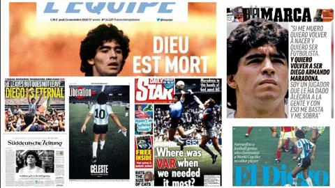 Trang nhất báo chí thế giới để tang Maradona như thế nào?