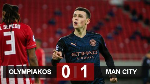 Kết quả Olympiakos 0-1 Man City: Foden lập công đưa Man City vào vòng 1/8