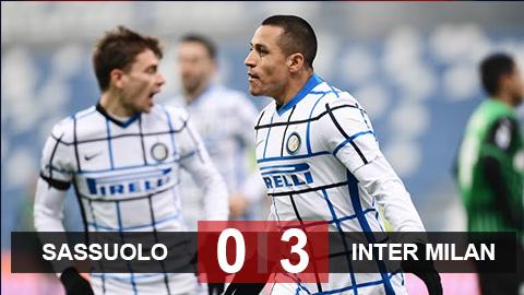 Kết quả Sassuolo 0-3 Inter: Sanchez lập công, Inter chiếm ngôi nhì BXH Serie A