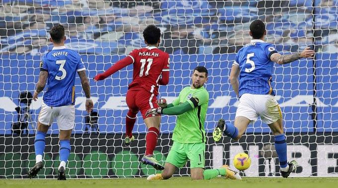 Salah ghi bàn nhưng bị từ chối bởi VAR