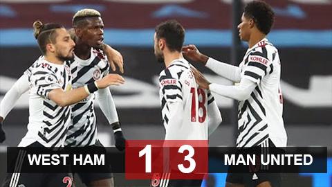 Kết quả West Ham 1-3 M.U: Ghi 3 bàn trong 13 phút, M.U ngược dòng ngoạn mục cùng cảm hứng Bruno