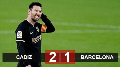 Kết quả Cadiz 2-1 Barca: Ngày trở lại buồn của Messi