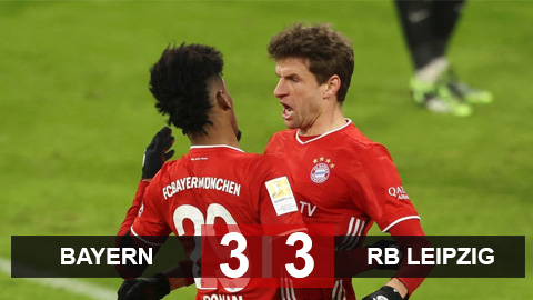 Kết quả Bayern 3-3 RB Leipzig: Mueller lập cú đúp giành về 1 điểm cho Bayern - bơi