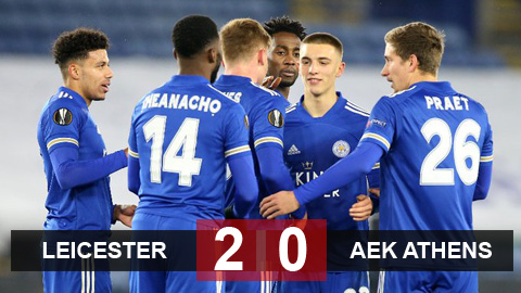 Kết quả Leicester 2-0 AEK Athens: Bầy cáo đi tiếp với ngôi đầu bảng