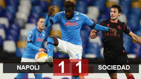 Kết quả Napoli 1-1 Real Sociedad: Cầm chân nhau, Napoli và Sociedad may mắn đi tiếp