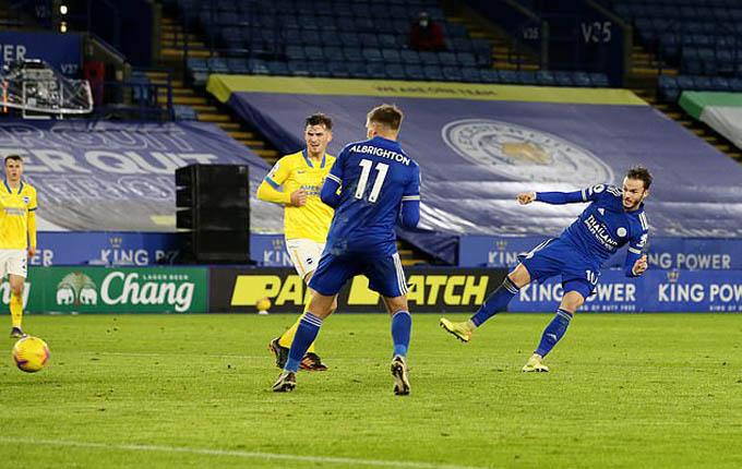 Maddison lập cú đúp ở trận đấu giữa Leicester và Brighton