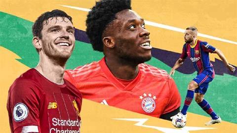Top 10 hậu vệ trái hay nhất 2020: Davies đứng dưới Robertson