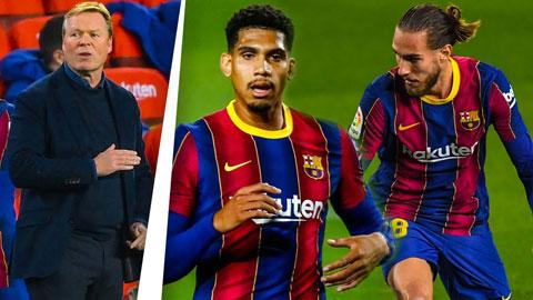 Koeman đã bố trí cặp trung vệ trẻ Araujo và  Mingueza (phải)
