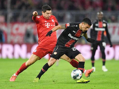 Lewandowski (trái) và đồng đội sẽ gặp nhiều khó khăn trên sân của Leverkusen