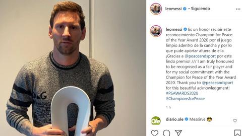 Messi được vinh danh là 'Nhà vô địch vì Hòa bình năm 2020'