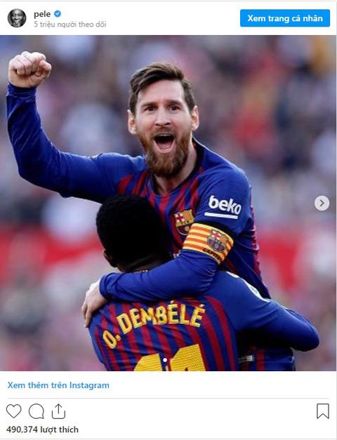 Pele chúc mừng Messi trên Instagram