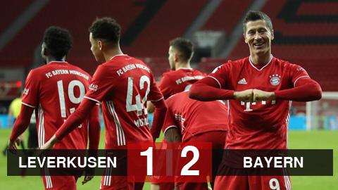 Kết quả bóng đá Bayer Leverkusen 1-2 Bayern Munich: 'Hùm xám' khép lại năm 2020 với ngôi đầu bảng