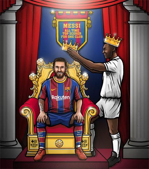 Trang chủ Barca đăng tải bức ảnh sau khi Messi bắt kịp kỷ lục của Pele