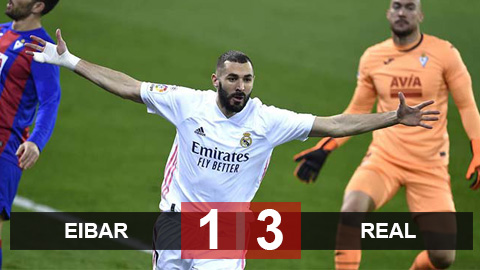 Kết quả Eibar 1-3 Real Madrid: Benzema rực sáng, Real bắt kịp Atletico