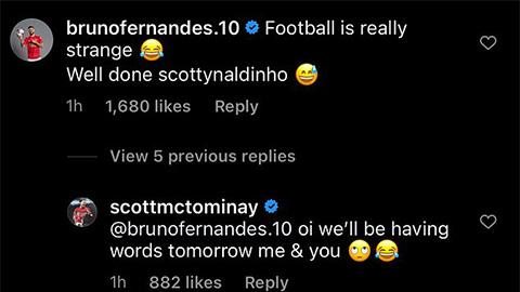 Bruno trêu chọc McTominay trên MXH