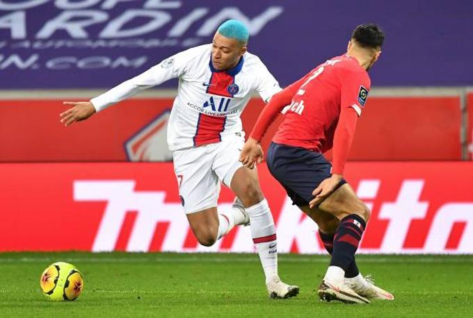 Mbappe vào sân từ ghế dự bị trận Lille vs PSG nhưng không tạo ra được khác biệt