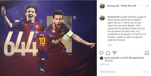 Messi tri ân sau khi lập cột mốc lịch sử