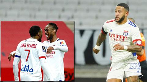 Lyon thắng 6/7 trận gần nhất khi bộ ba Ekambi, Kadewere (ảnh nhỏ, phải) và Depay (ảnh chính) đá chính