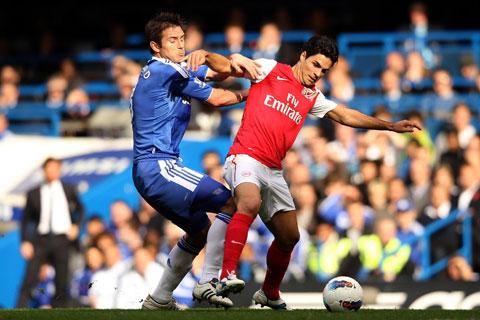 Khi còn thi đấu (ảnh nhỏ) hay lúc cầm quân, cuộc thư hùng giữa Lampard của Chelsea (trái) với Arteta của Arsenal bao giờ cũng căng thẳng