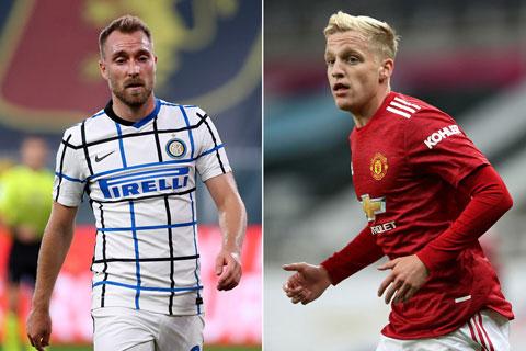 Inter Milan muốn đổi Eriksen lấy Van de Beek của M.U