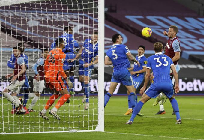 Soucek ấn định tỷ số hòa 2-2 trận West Ham vs Brighton ở phút 82