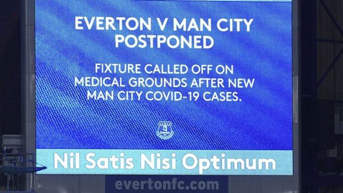 Trận Everton vs Man City bị hoãn sau khi có nhiều cầu thủ của Man City dương tính với Covid-19