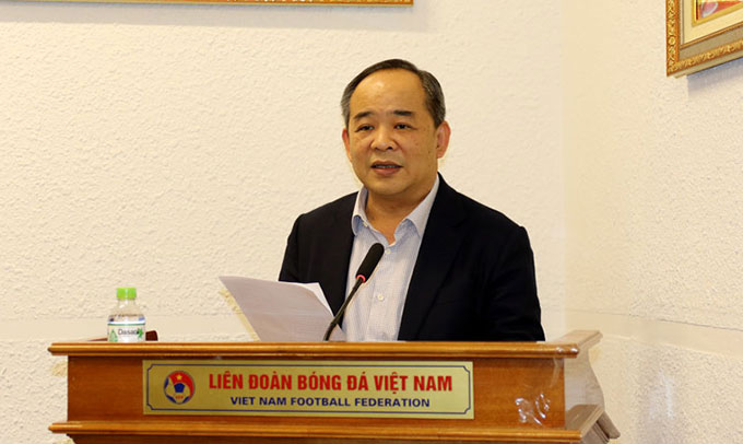 Ông Lê Khánh Hải – Phó Chủ nhiệm Văn phòng Chủ tịch nước, Chủ tịch LĐBĐVN phát biểu khai mạc hội nghị tổng kết các giải futsal quốc gia 2020