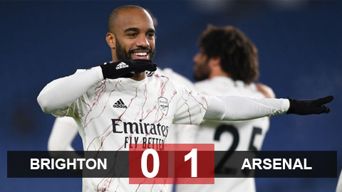 Kết quả Brighton 0-1 Arsenal: Lacazette lại tỏa sáng, Arsenal thắng trận thứ 2 liên tiếp