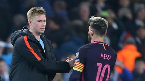 Man City dành tiền mua Messi nên không thể trao lương 'khủng' cho De Bruyne